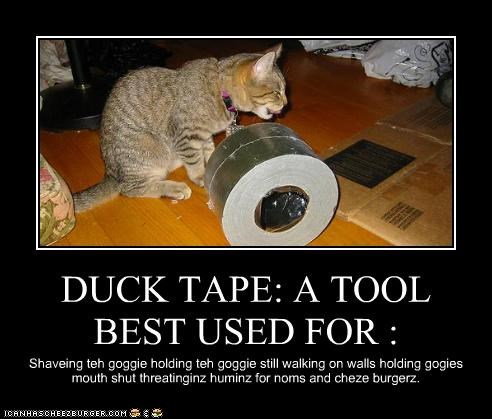 DUCK TAPE: A TOOL BEST USED FOR : Shaveing teh goggie holding teh goggie still walking on walls holding gogies mouth shut threatinginz huminz for noms and cheze burgerz.