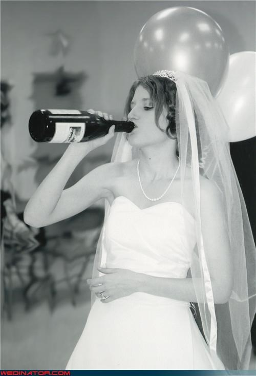 alcohol,bride,funny wedding photos