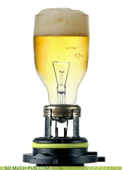 beer,bulb,figure of speech,light,light beer,lightbulb,literalism,memory,state dependent memory