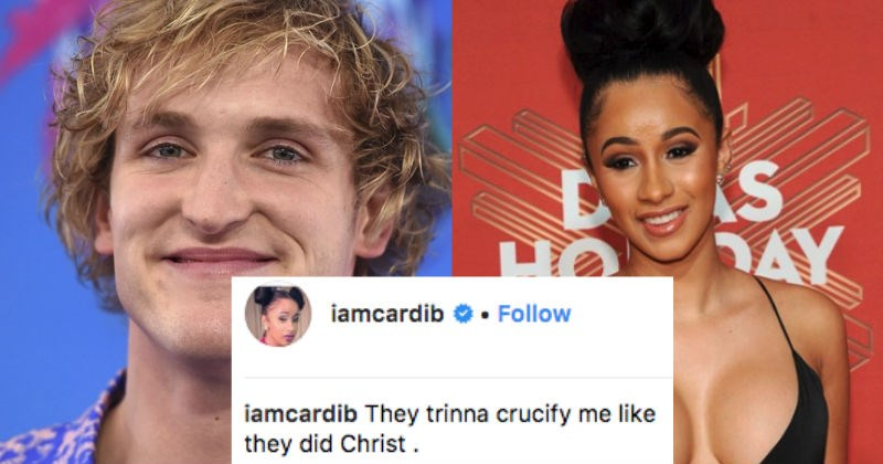 Logan Paul gets roasted after dropping an insensitive comment on Cardi B's Instagram.