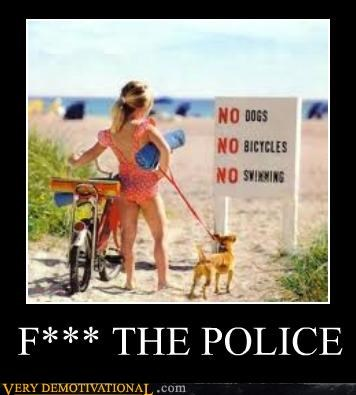 bicycle dogs girl police swimming - 4692787968