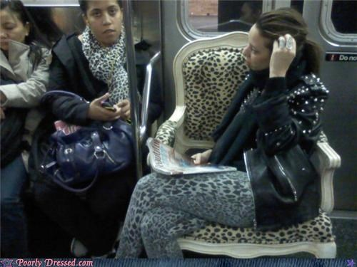 chairs,leggings,leopard,matching,public transportation