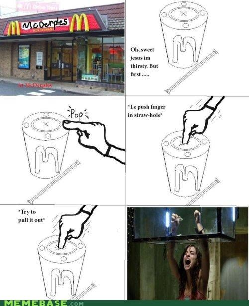 cup,finger,McDonald's,Rage Comics,saw,trap