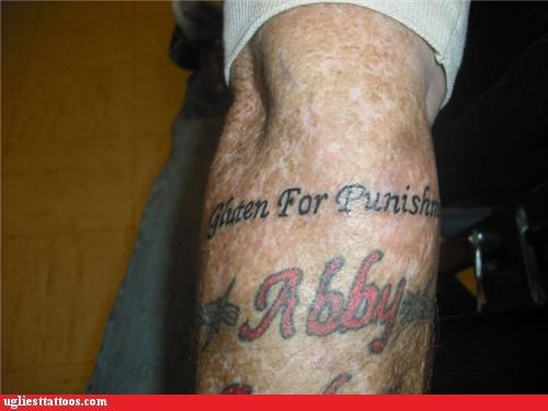 gluten,tattoos,misspelling,funny,g rated,Ugliest Tattoos