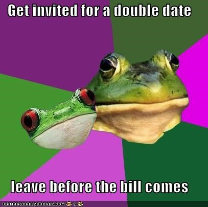 bill,couple,dash,dinner,foul,foul bachelor frog,foul bachelorette frog
