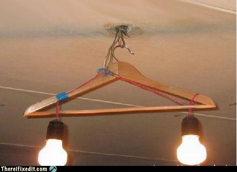 coat hanger,dangerous,electricity,lights