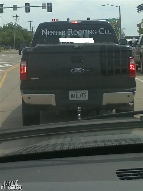 business,license plate,roofing,swears,trucks