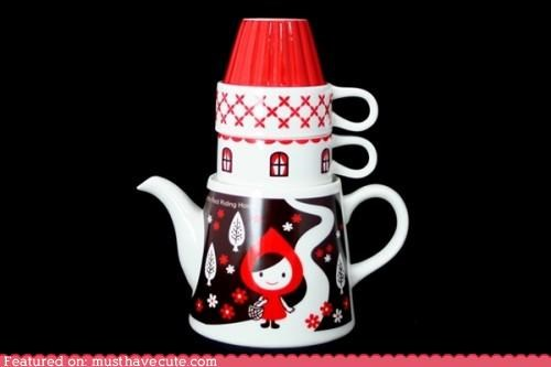 house Little Red Riding Hood set stacking teacups teapot - 4696213760