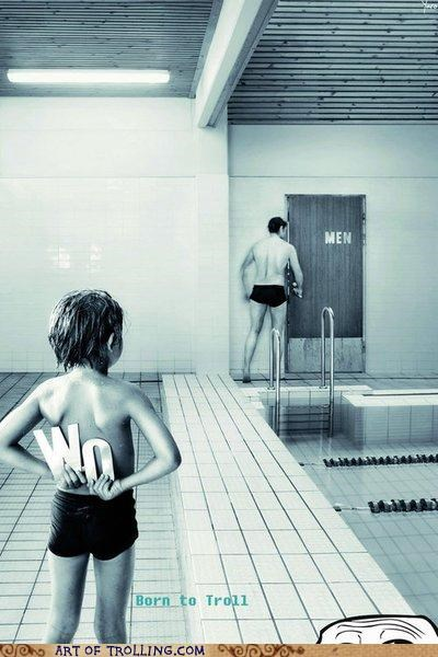 kid,pool,restroom,sign