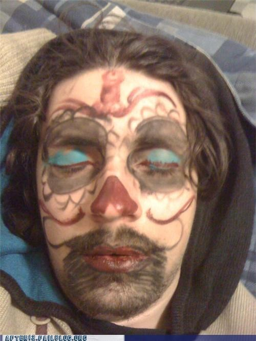 clown marker passed out sugar skull - 4696499712