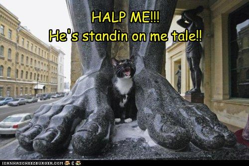 caption,captioned,cat,feet,giant,halp,help,pain,sculpture,shouting,standing,statue,stuck,tail