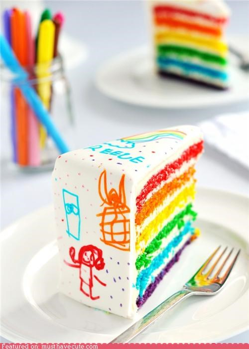 cake,drawings,epicute,fondant,kids,layers,rainbow