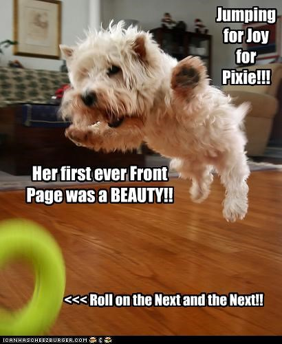 Jumping for Joy for Pixie!!! <<< Roll on the Next and the Next!! Her first ever Front Page was a BEAUTY!!