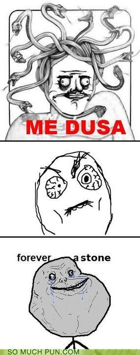 comic,faces,forever alone,literalism,me gusta,medusa,Rage Comics,similar sounding,stone