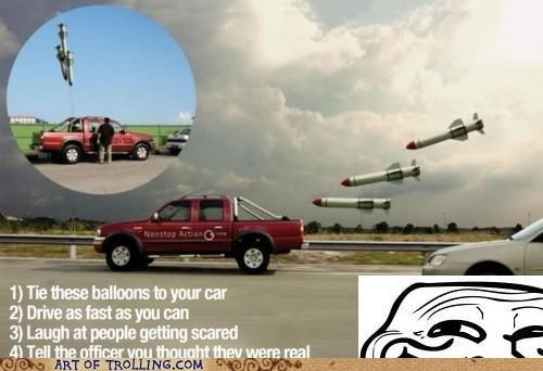 Balloons cars driving IRL prank rocket - 4698731264