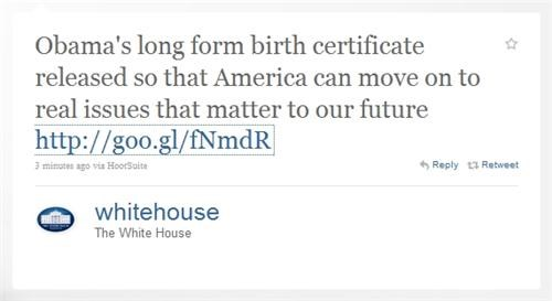 Birther Debate Breaking News Long Form Birth Certifica President Obama White house