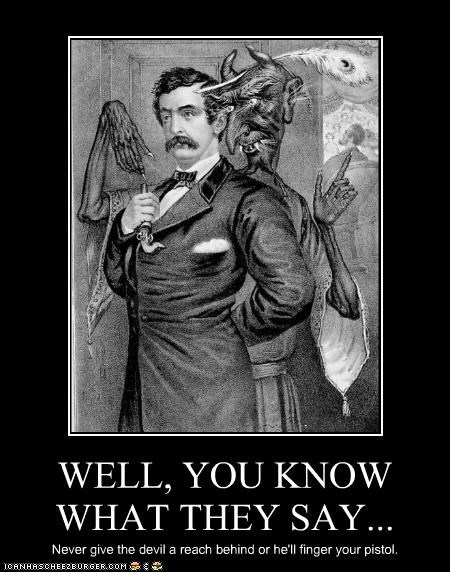 art,demotivational,funny,historic,illustration,john wilkes booth,satan