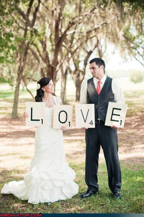 bride funny wedding photos groom photo shoot scrabble - 4699178752