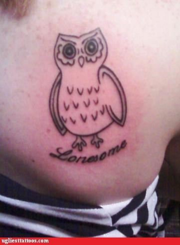 owls,tattoos,funny,bad puns