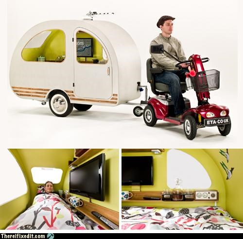 camping caravan not a kludge scooter towing