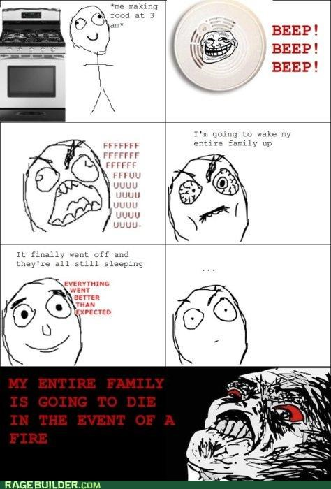 alarm,Death,family,fire,Rage Comics