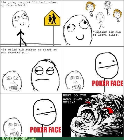 bus stop looking poker face Rage Comics weird kid what do you want - 4701931264