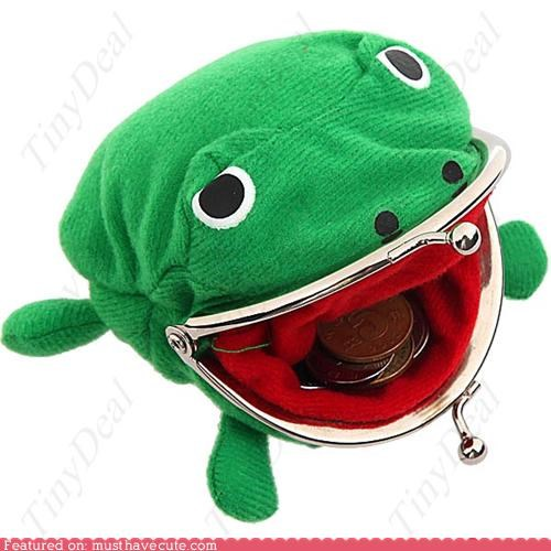 change purse,coins,frog,mouth,nomey,wallet