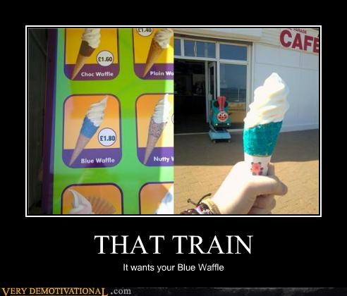 blue eww ice cream Terrifying train waffle - 4702427392