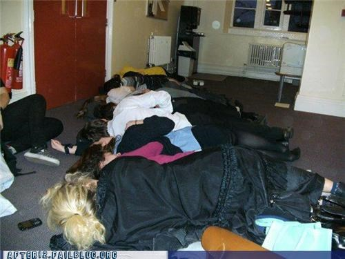 group passed out spooning