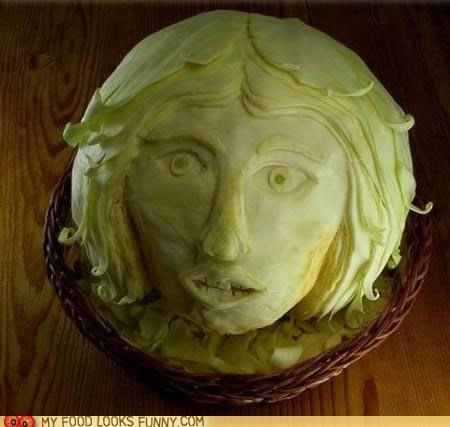 art,cabbage,carved,face,head,sculpture