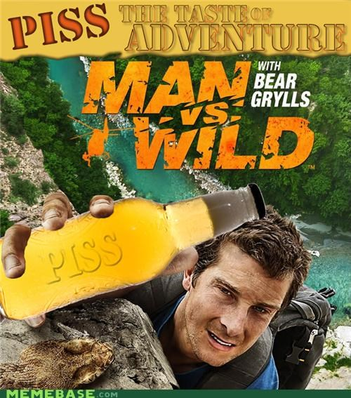 ads,adventure,bear grylls,man vs wild,piss,video games