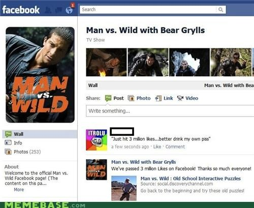 3 million,bear grylls,facebook,likes,trolls