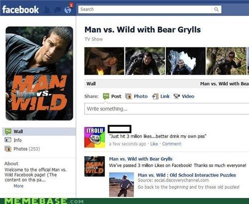 bear grylls facebook likes trolls - 4703668736