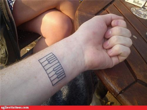 keys,piano,FAIL,tattoos,funny,g rated,Ugliest Tattoos