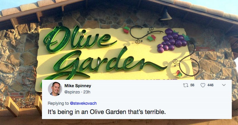 Olive Garden is getting roasted on Twitter over their new nachos menu item.