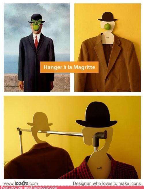 apple closet clothes hanger hat magritte