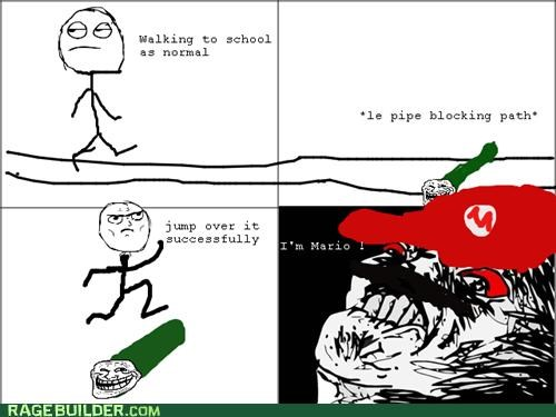 jump,mario,pipe,Rage Comics,school,success