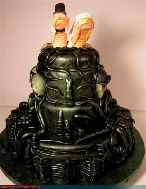 aliens cake funny wedding photos geek
