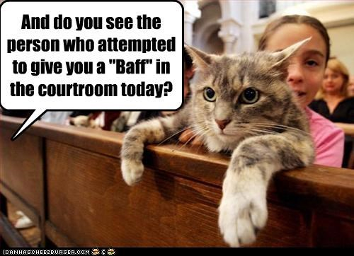 "And do you see the person who attempted to give you a ""Baff"" in the courtroom today?"