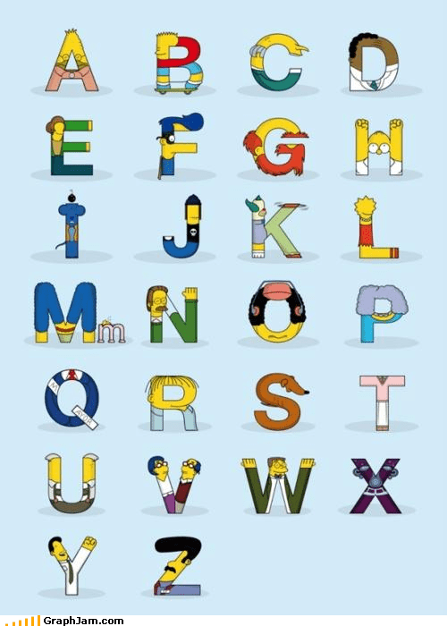 alphabet infographic movies simpsons television - 4706840320