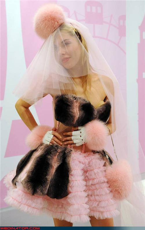 funny wedding photos pink wedding dress