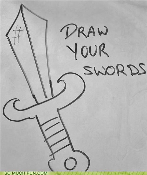 Command,double meaning,draw,literalism,sword,swords