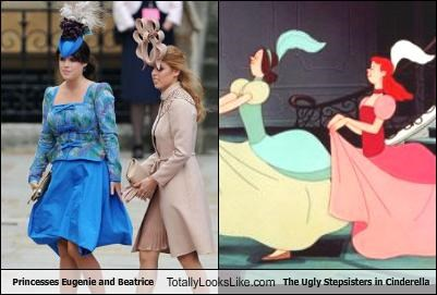 cinderella disney fashion Hall of Fame Princess Beatrice Princess Eugenie royal wedding ugly stepsisters