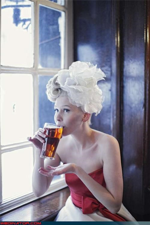 alcohol,beer,boozing bride,bride,funny wedding photos