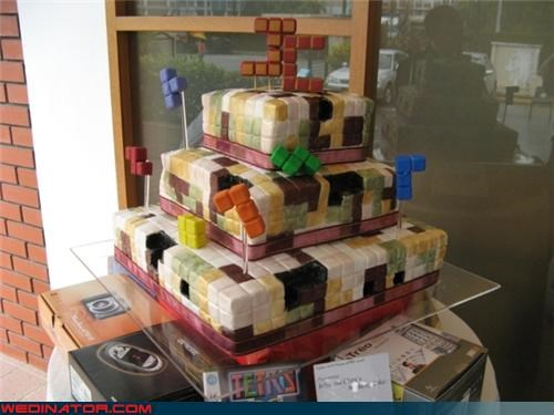 funny wedding photos,tetris,video games,wedding cake