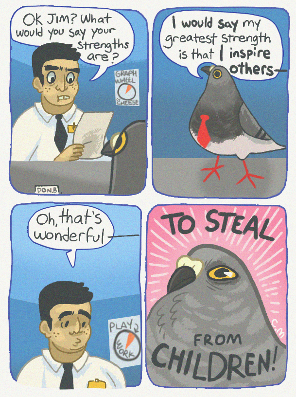 comics of the thoughts and inner workings of pigeon birds