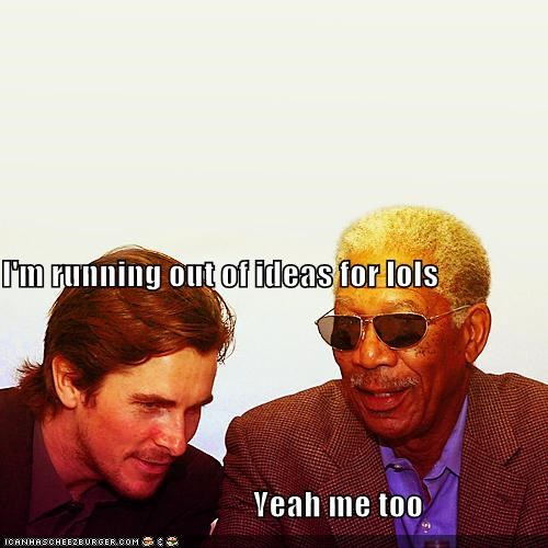 actor,celeb,christian bale,funny,Morgan Freeman