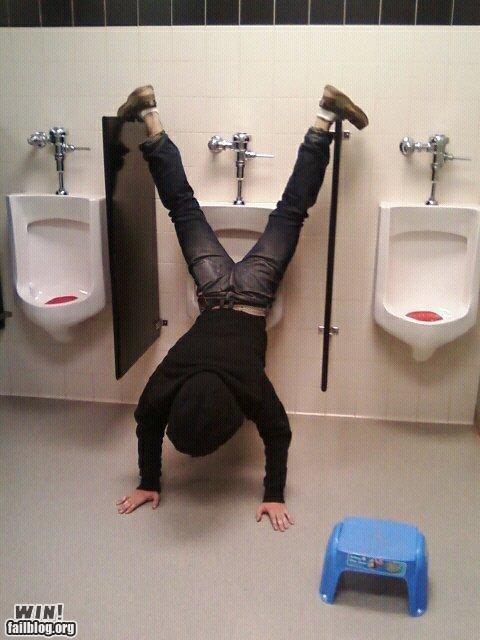 handstand peeing skills toilets urinals - 4710110720