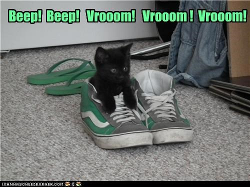 beep,caption,captioned,car,cat,countdown,imagining,kitten,pretending,shoe,skid marks,vroom
