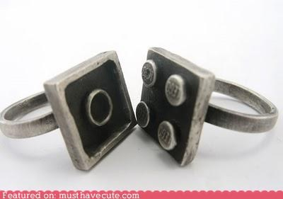 blocks,Jewelry,lego,locking,pair,rings,set